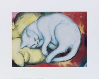 Franz Marc Cat on a yellow pillow