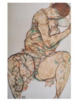 Egon Schiele Sitzende Frau mit linker Hand im Haar