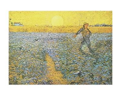 Vincent van Gogh Saeer mit untergehender Sonne