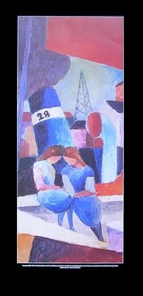 August Macke Hafenbild mit Kindern auf der Mauer